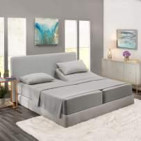 Nestl Bedding 5 Piece Sheet Set - 1800 Deep Pocket Bed Sheet Set - Hotel Luxury Double Brushed Microfiber Sheets - Deep Pocket Fitted Sheet, Flat Sheet, Pillow Cases, Split Cal King - Silver