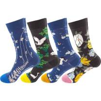MEIVSO Women's 4 Pairs Casual Funny Socks Printed Colorful Cute Novelty Cool Cotton Socks