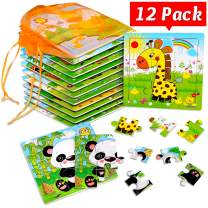 SANNIX 12 Pack Toddler Puzzles Wooden Animals Jigsaw Puzzles 9 Pieces with 12 Organize Bags Kids Ages 2 3 4 5 Preschool Educational Learning Travel Toys for Boys and Girls