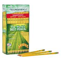 TICONDEROGA Pencils, Wood-Cased #2 HB Soft, Pre-Sharpened with Eraser, Yellow, 72-Pack (13972)