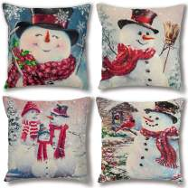 Anoak Christmas Pillow Covers, Christmas Pillow Cases 18 x 18 Inches Set of 4 Snowman Christmas Pillowcase Decor, Xmas Cotton Linen Throw Pillow Covers with Hidden Zipper for Couch Sofa Bed