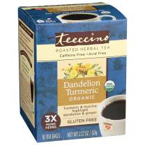 Teeccino Dandelion Tea - Organic Turmeric - Roasted Herbal Tea, Organic Dandelion Root, Prebiotic, Caffeine Free, Gluten Free, Acid Free, 10 Tea Bags