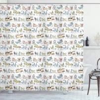 "Ambesonne Retro Shower Curtain, Cartoon Village of Domestic Animals Goat Goose Sheep Funny Patterns Kids Nursery, Cloth Fabric Bathroom Decor Set with Hooks, 84"" Long Extra, Yellow Beige"