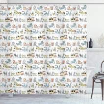 "Ambesonne Retro Shower Curtain, Cartoon Village of Domestic Animals Goat Goose Sheep Funny Patterns Kids Nursery, Cloth Fabric Bathroom Decor Set with Hooks, 84"" Long Extra, Yellow Beige"