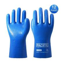 Pacific PPE 12Pairs Nitrile Chemical Resistant Gloves,Heavy Duty Safety Work Gloves,Reusable Industrial Gloves Resist Acid, Alkali, Solvent and Oil,Nitrile Glove(Blue,XL)
