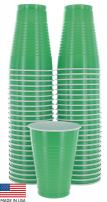 Amcrate Green Colored 12-Ounce Disposable Plastic Party Cups - Ideal for Weddings, Party's, Birthdays, Dinners, Lunch's. (Pack of 50)