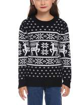 Aibrou Kids Christmas Sweaters for Girls Boys Reindeer Snowflake Crewneck Knit Sweater Pullover