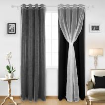 Deconovo Grommet Window Mix and Match Curtain Set 2 White Sheer Panels and 2 Black Thermal Insulated Blackout Curtians for Nursery Room, 52x95 Inch