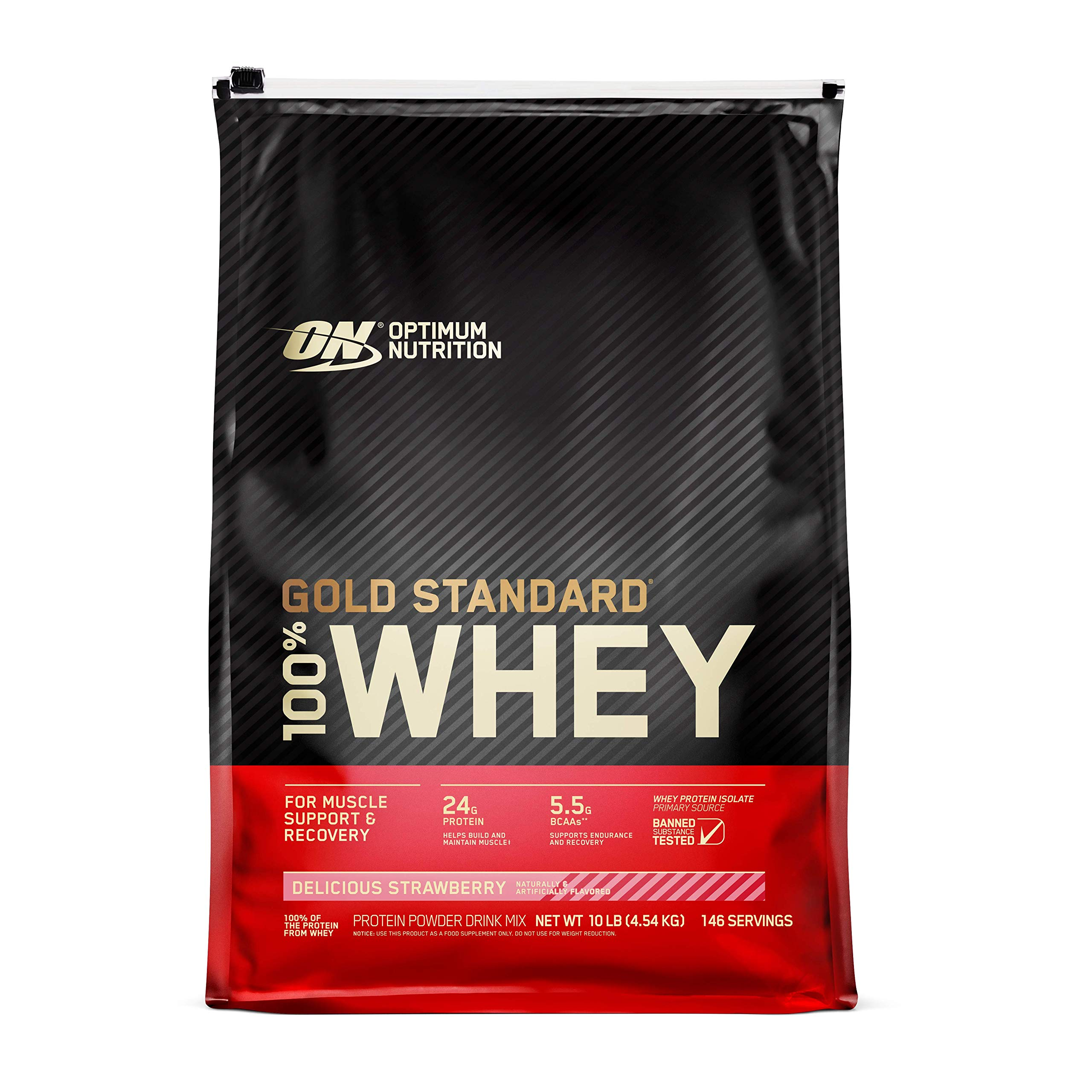 Optimum Nutrition Gold Standard 100% Whey Protein Powder, Delicious Strawberry, 10 Pound (Packaging May Vary)