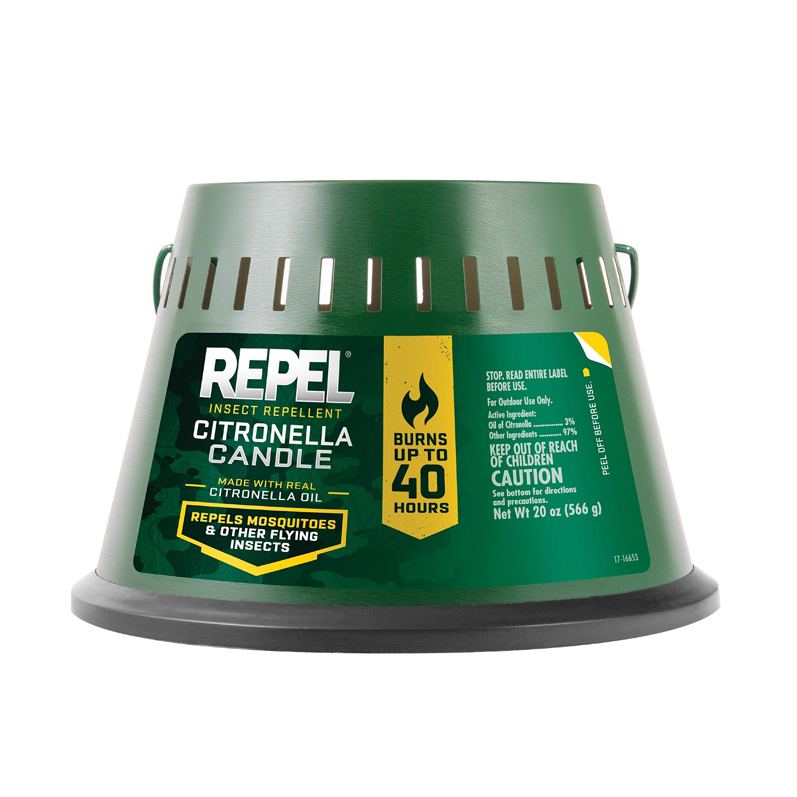 Repel Insect Repellent Citronella Candle, Triple Wick, 20-Ounce