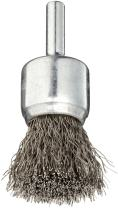 """Weiler 10018 0.0104"""" Wire Size, 3/4"""" Diameter, 302 Stainless Steel Bristles, Solid End, Stem-Mounted Crimped Wire End Brush"""