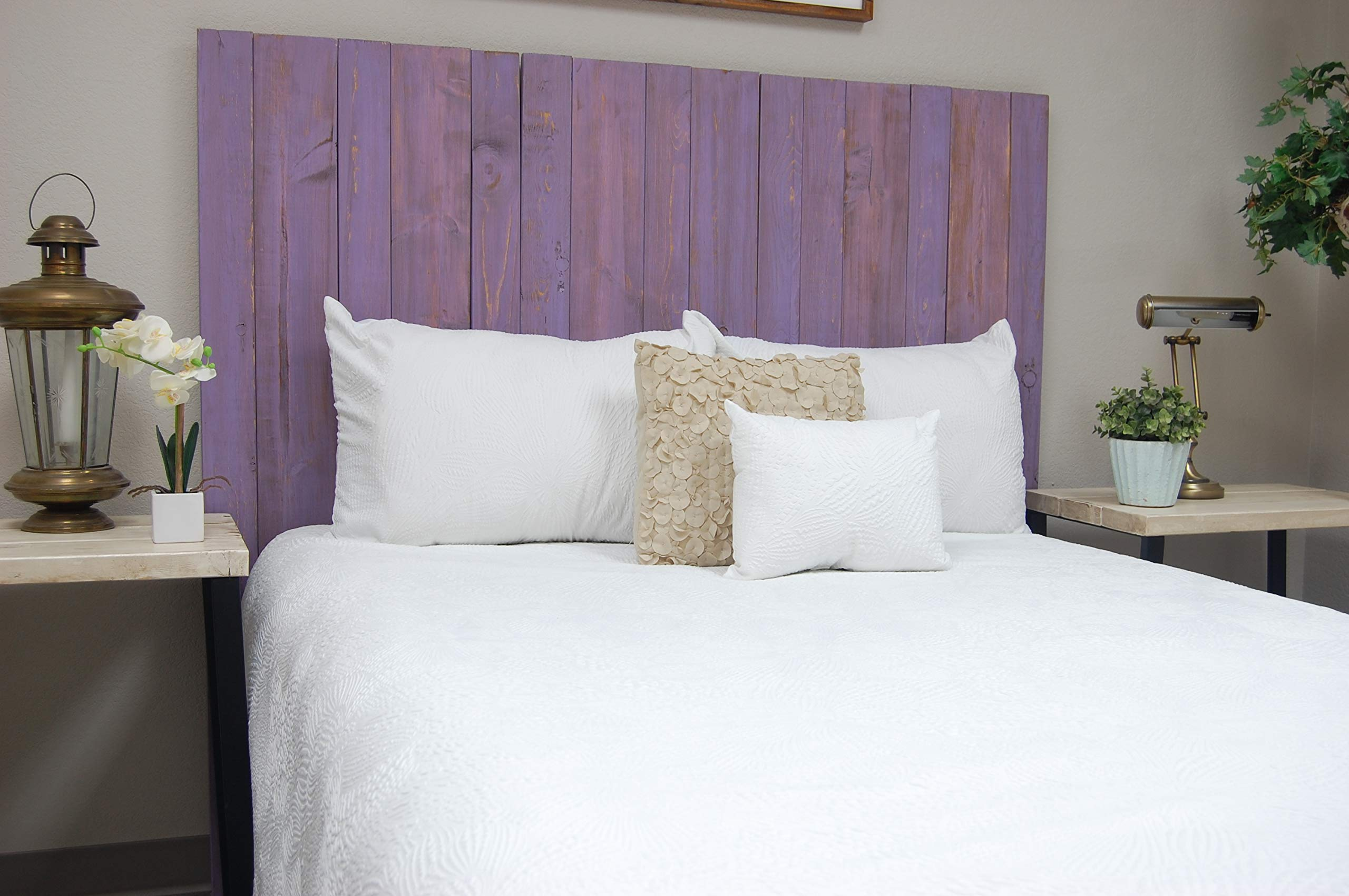 Lavender Headboard Weathered King Size, Hanger Style, Handcrafted. Mounts on Wall. Easy Installation