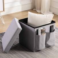 """ANJ Storage Ottoman Cube with Side Pockets 14"""", Toy Chest Folding Footrest Stool Seat (Cement Grey)"""
