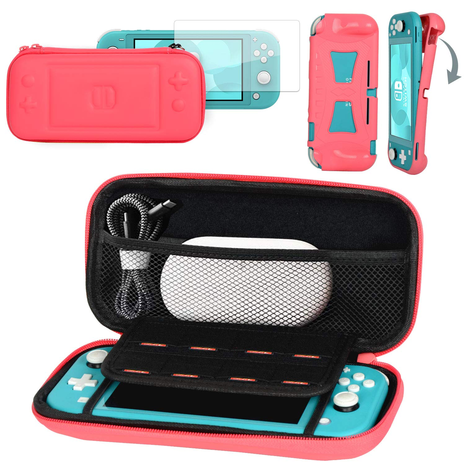 CoBak Carrying Case for Nintendo Switch Lite - with 1 Screen Protector and 1 Grip Case, Ultra Slim Premium EVA Travel Pouch Protective Cover, 8 Game Cartridges, Pink