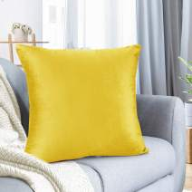 "Nestl Bedding Throw Pillow Cover 16"" x 16"" Soft Square Decorative Throw Pillow Covers Cozy Velvet Cushion Case for Sofa Couch Bedroom - Yellow"