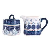 Bico Blue Talavera Ceramic Sugar and Cream Set, Dishwasher Safe