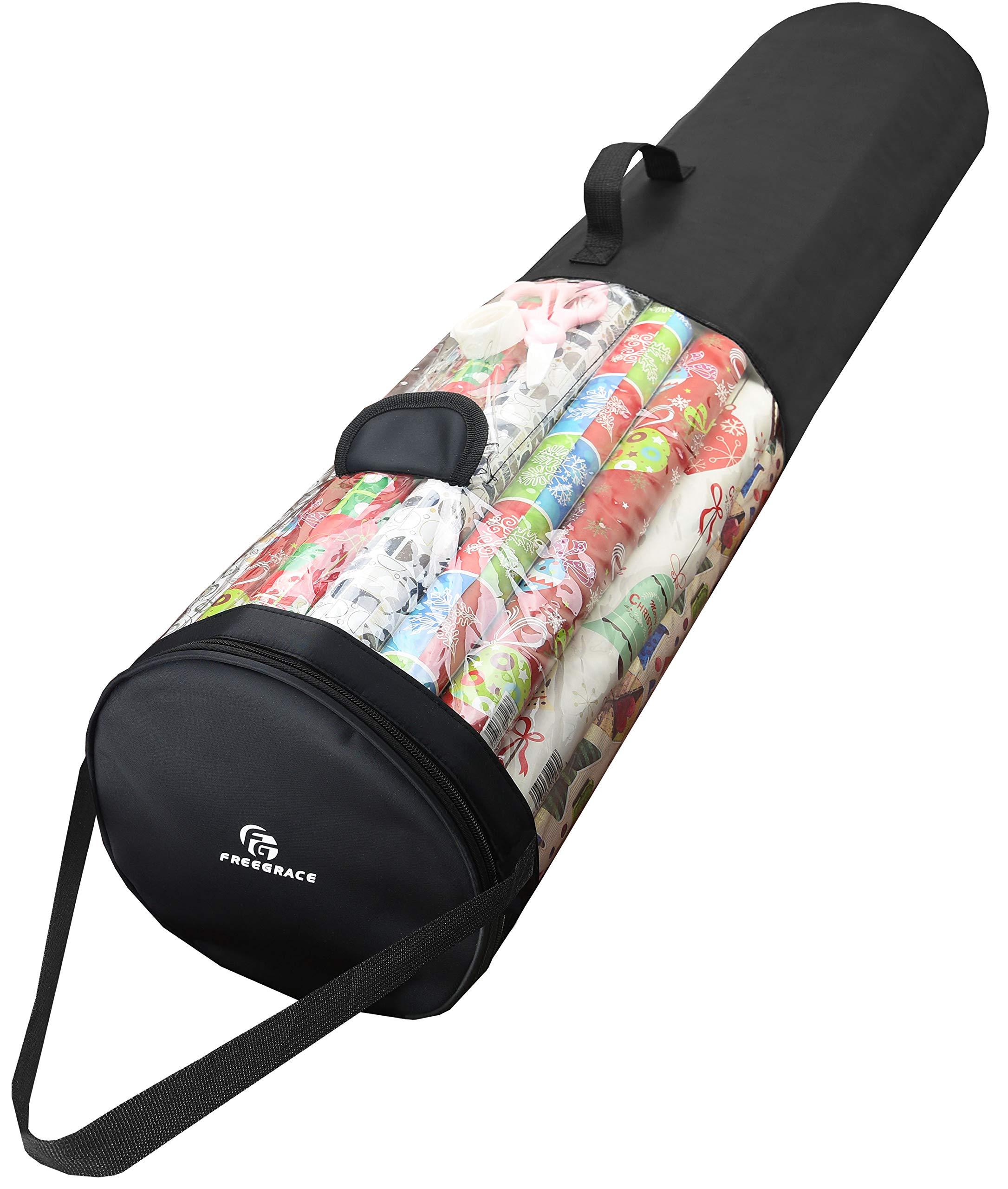 "Freegrace Gift Wrap Organizer | Large 9"" x 40.9"" Wrapping Paper Rolls Storage Bag | Tearproof & Space Saving Under Bed Gift Bag Organization (Black)"