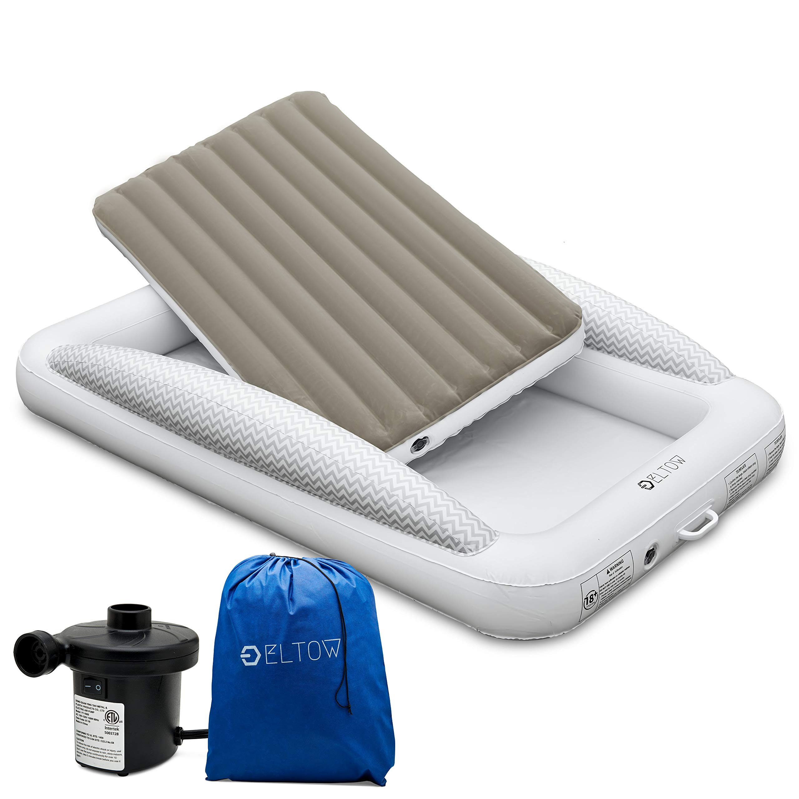 Picture of: Eltow Inflatable Toddler Air Mattress Bed With Safety Bumper Portable Modern Travel Bed Cot For Toddlers Perfect For Travel Camping Removable Mattress High Speed Pump And Travel Bag Included