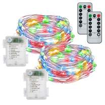 buways Fairy Lights, 2-Pack Battery Operated Multicolor 50 LED Fairy String Lights, 16.4ft Silver Wire Light with Remote Control for Christmas Parties, Garden, and Home Decoration