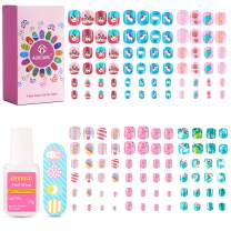 Girls Press On Nails, Kids Press On Nails for Girls, 144 Pcs Girls Fake Nails Kit with Glue for Teens Girls Toddler with Cute Design, 6 Pack Short Square False Stick On Nails Peel and Stick Nails for Kids Age 3-12 Year Old,Easter Baskets Gift