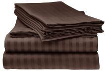 Elaine Karen 1800 Bedding - Soft Brushed Microfiber - Striped 4PC King Sheet Set Mocha