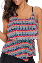 Astylish Womens Striped Printed Ruffled Flounce Tankini Swim Top No Bottom S - XXXL