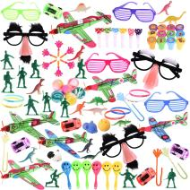 FUN LITTLE TOYS 100Pcs Bulk Party Favor Pack Assortment Pinata Toys Including Bouncy Ball, wristband, Stamps,glasses,Small Cars, Dinosaur, and More