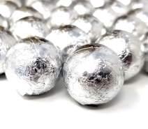 CrazyOutlet Silver Foil Milk Chocolate Balls, Valentine's Day Candy, Bulk 2 Lbs