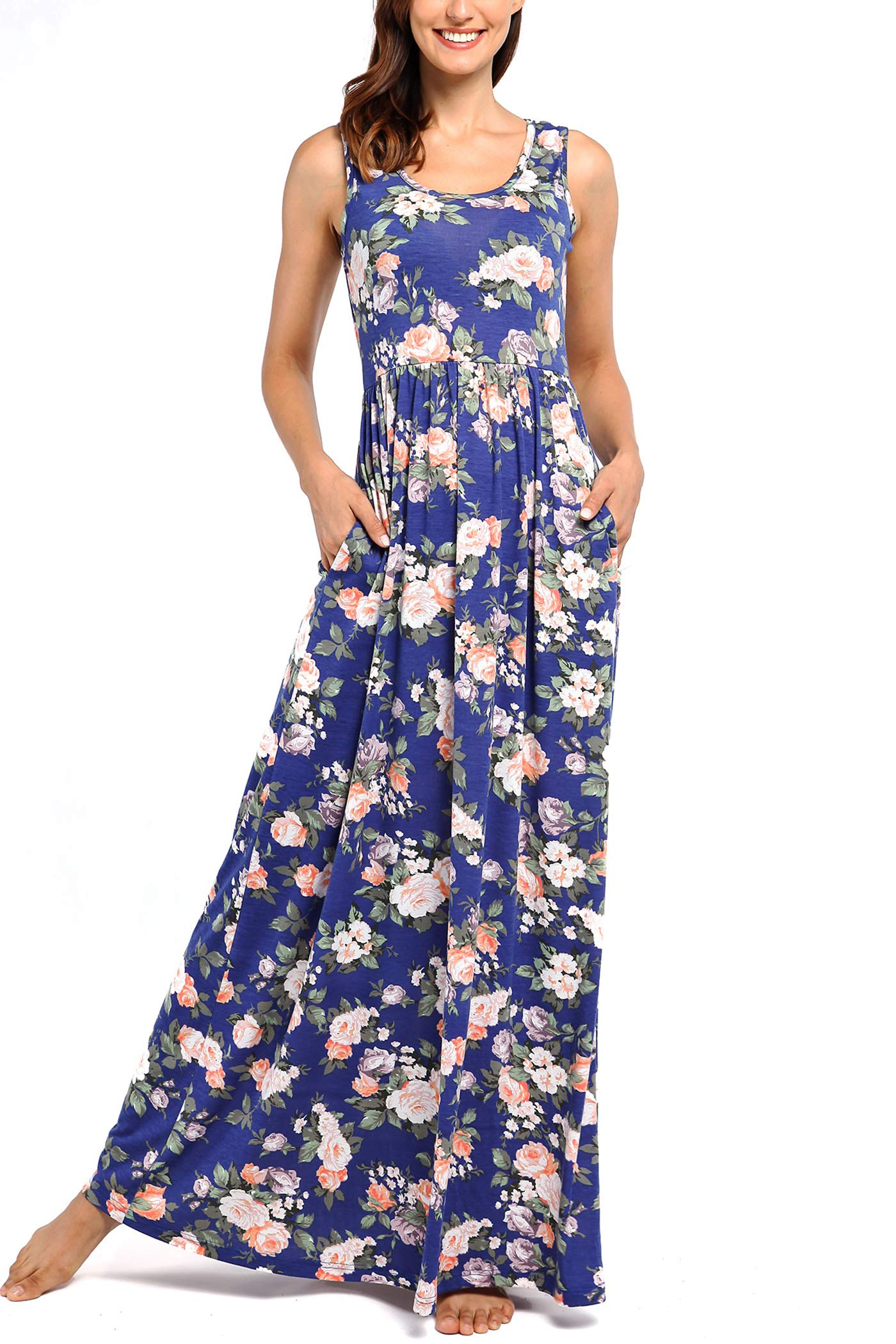 Comila Women's Summer Sleeveless Floral Tank Maxi Dress Casual Long Dress Pocket