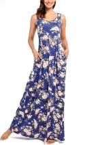 Comila Women's Summer Sleeveless Floral Tank Maxi Dress Casual Long Dress Pocket
