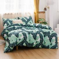 ECOCOTT 3 Pieces Duvet Cover Set Queen 100% Natural Cotton 1 Duvet Cover 2 Pillowcases, Tropical Banana Lush Leaves Printed Pattern Soft Cozy Luxury Breathable and Durable Bedding Set