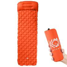 KOR Outdoors Camping Sleeping Pad - Inflatable Outdoor Sleeping Mat with Built-in Pillow - Ultra Lightweight, Compact and Portable Sleep Pads - Heavy Duty for Camp, Hiking, Backpacking Air Mattress