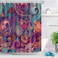 LB Indian Bohemian Shower Curtain Mandala Print Colorful Paisley Pattern Peace Sign Curtains Tribal Shower Curtains for Bathroom Waterproof Eco-Friendly Fabric 60x72 Inch with 10 Hooks,Purple
