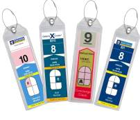 Cruise Luggage Tag Holder Zip Seal & Steel for Royal Caribbean & Celebrity Cruise (Clear - 4 Pack)