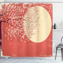 """Ambesonne Spring Shower Curtain, Cherry Blossom Sakura Tree Branches on Moon Japanese Style Illustration, Cloth Fabric Bathroom Decor Set with Hooks, 75"""" Long, Yellow Coral"""