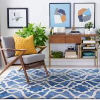 Decomall Geometric Trellis Area Rug Soft Plush Watercolor Tonal Navy Rugs for Living Room Bedroom, Navy, 4' x 6'