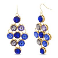CATHERINE MALANDRINO Multi-Colored Dangling Yellow Gold-Tone Chandelier Earrings for Women (Various Colors)