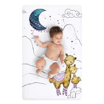 JumpOff Jo – Fitted Mini Crib Sheet (24 x 38 x 5 Inches) - Fits Portable Crib, Playard, and Playpen Mattresses and Mats - Soft 100% Cotton – Llama and Mama