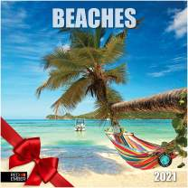 """Beaches - 2021 Hangable Wall Calendars by Red Ember Press - 12"""" x 24"""" When Open - Thick & Sturdy Glossy Paper - Kick Back and Relax"""