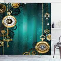 """Ambesonne Industrial Shower Curtain, Antique Items Watches Keys and Chains with Steampunk Influences Illustration, Cloth Fabric Bathroom Decor Set with Hooks, 70"""" Long, Green Gold"""