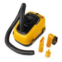 Wagan EL7205 12V Wet/Dry Auto Vacuum Cleaner for Vehicles with 40-inch Flexible Hose and 3 Nozzles, Inflate Function for Pool Toys, Air Mattress, Yellow, Black
