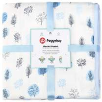 """PB PEGGYBUY Baby Bamboo Swaddle Blanket 4 Layers Thick Muslin Stroller Blankets Soft Receiving Blanket, Summer Quilt for Kids Toddler Boys and Girls - Oversized 47"""" x 47"""" 1 Pack"""