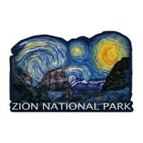 Lantern Press Zion National Park, Utah - Starry Night - Contour 96870 (Vinyl Die-Cut Sticker, Indoor/Outdoor, Small)