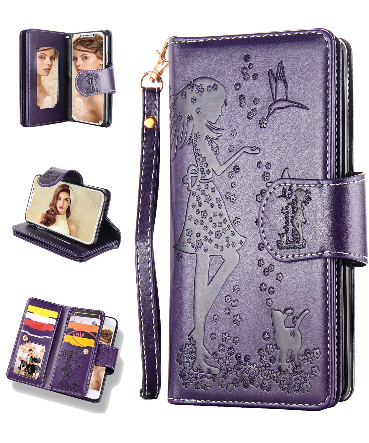 FLYEE iPhone 11 Pro Max Wallet Case with Mirror, 9 Cards Slots Premium Leather Flip Case Closure Magnetic Dream [Embossed] Protective Folding Cover Kickstand for iPhone 11 Pro Max 6.5 inch-Purple