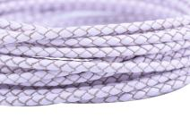 KONMAY 5 Yards 3.0mm Round White Geneuine Braided Leather Cord Bolo Leather Cord