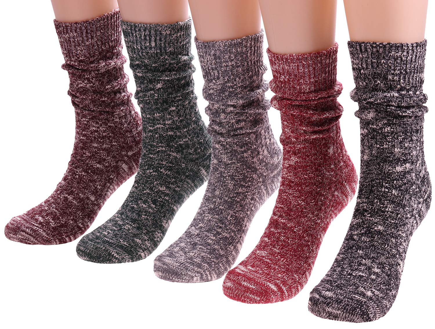 ANCHOVY 5 Pack Cotton Crew Socks Women Vintage Long Boot Socks Warm Cable Knit Socks 5-9 G-21