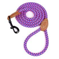 Mile High Life   Mountain Climbing Dog Rope Leash with Heavy Duty Metal Sturdy Clasp   Genuine Leather Tailored Connection with Strong Stitches (4/5/6 FEET)