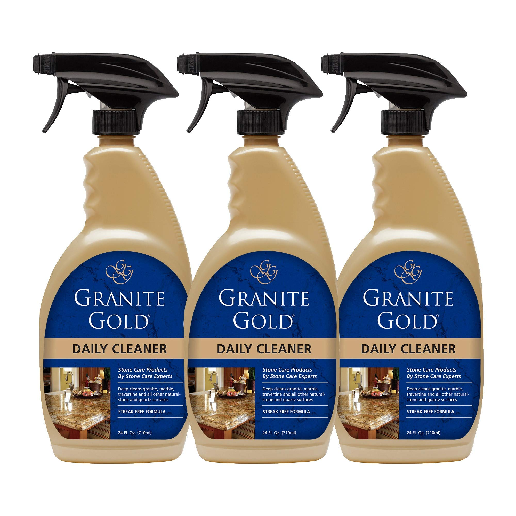 Granite Gold Daily Cleaner Spray Streak Free Cleaning For Granite Marble Travertine Quartz Natural Stone Countertops Floors Made In The Usa 24 Ounces 3 Pack