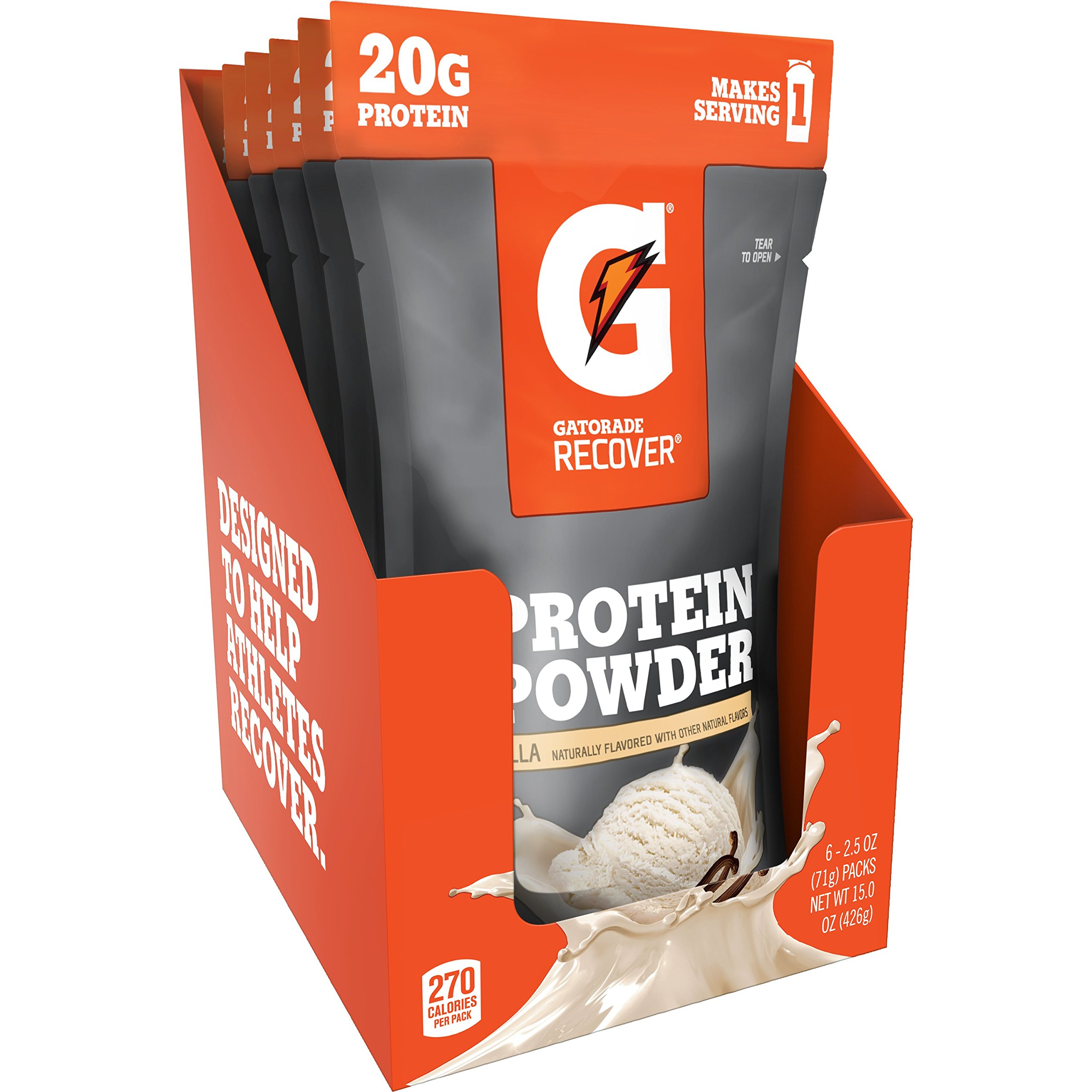 Gatorade Recover Whey Protein Powder, Vanilla (6 single pouches, 20 grams of protein per serving)