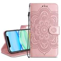 HianDier Wallet Case for iPhone 11 Card Holder Case Kickstand Flip Cover Embossed Mandala Flower Lanyard Protective Soft PU Leather Cover Case for 2019 Release iPhone 11 iPhone XI, Rose Gold